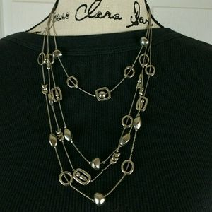 "Jewelry - Layered silver tone geometric necklace, 19"" long"